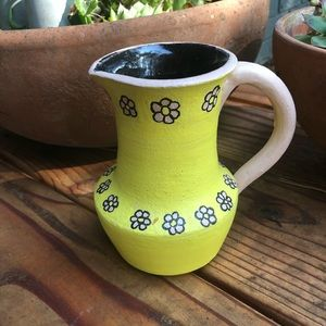 Hand Crafted Accents - Hand Made Clay Mini Pitcher/Vase/Creamer Yellow